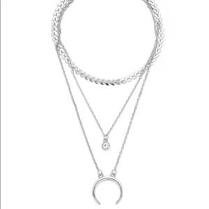Jewelry - Silver Moon Pendent Layered Chain Necklace